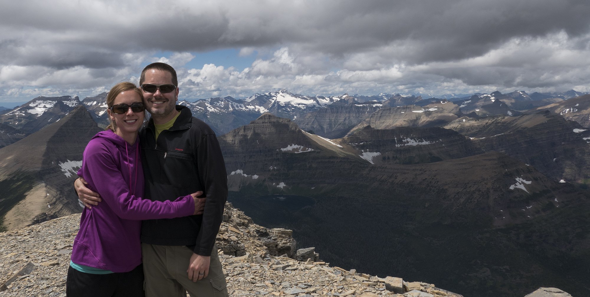 Jake and his wife Kristen on Rising Wolf Mountain in Glacier National Park