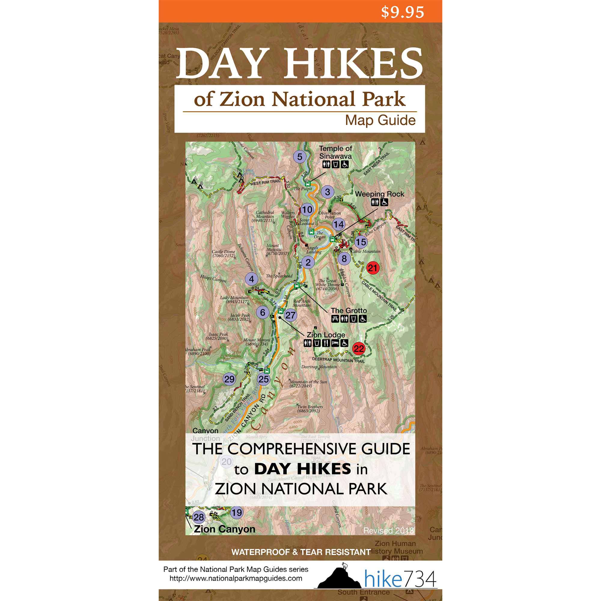 Day Hikes of Zion National Park Map Guide on