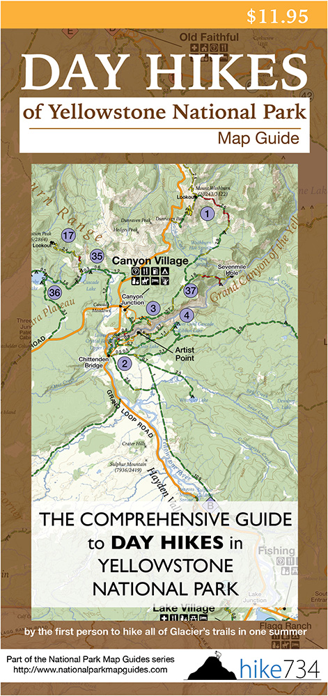 Day Hikes of Yellowstone National Park Map Guide