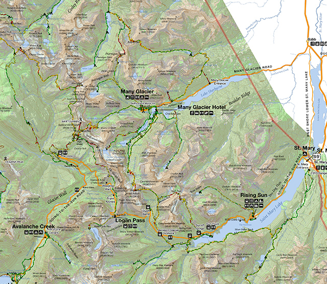 Glacier National Park Interactive Map - St  Mary and Many